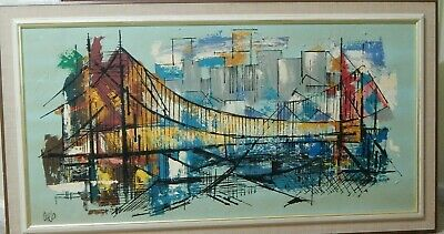 Vintage 50's 60's Large Mid Century CARLO OF HOLLYWOOD Oil On Canvas Bridge