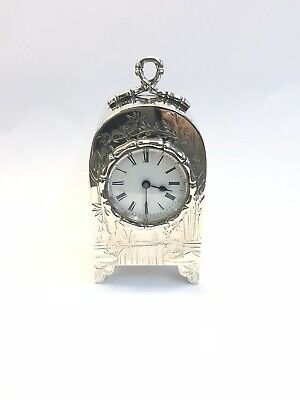 Antique miniature engraved case silver carriage clock c1884