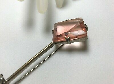 Late 1800's to Early 1900's Brooch Pin Glass, Slightly Salmon Colored