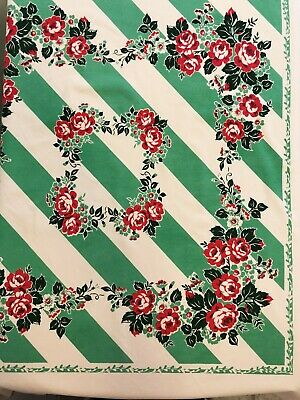 Moda Home Tablecloth Vintage Retro Style Red Rose Wreath Green Stripe