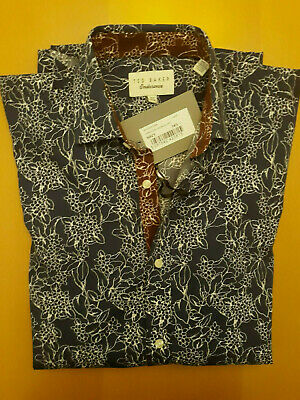 TED BAKER Endurance Linear Floral Shirt Color Navy, Size 14.5  34/35, N.W.T