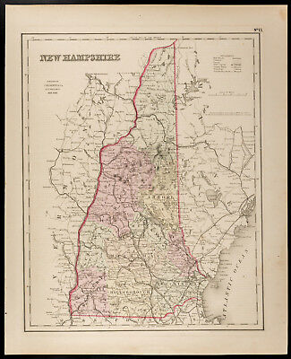 Mapa Antigua [1857 , Colton] : Condición Americano Del Nueva Hampshire. Map