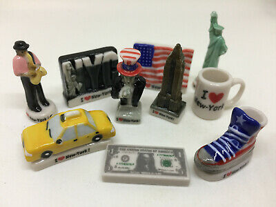 I Love New York Set 10 Mini Figurines FRENCH Porcelain FEVES - Statue of Liberty