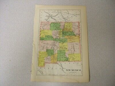 Map of New Mexico with Railroads, Counties, Cities Color Plates Circa 1900