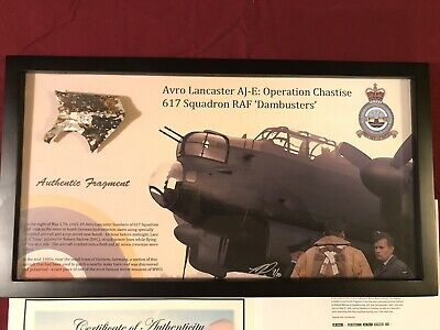 RAF Avro Lancaster Dambuster WWII - Authentic Relic Display - Art By Ron Cole