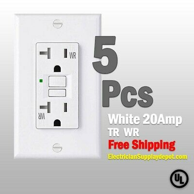 GFCI 20 AMP GFI (5PACK)Receptacle Outlet TAMPER RESISTANT TR WR WHITE UL GFCI