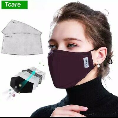 * Cotton PM2.5 Black mouth Mask anti dust mask Activated carbon filter Windproof