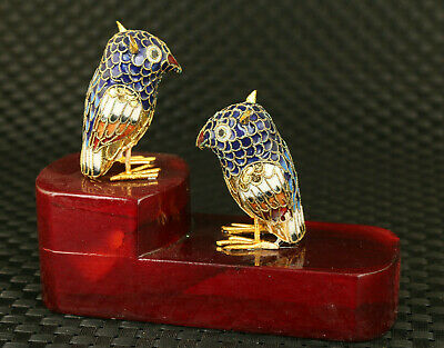 unique chinese old cloisonne hand paint pair bird wood stand table decoration