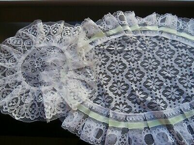 2 VINTAGE 1960's  RETRO  WHITE/GREEN NYLON LACE TABLE MATS or DOILIES~FRILLED