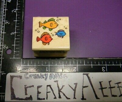 SCHOOL OF FISH THREE LITTLE SMALL TINY RUBBER STAMPS HERO ARTS A728 CREAKYATTIC