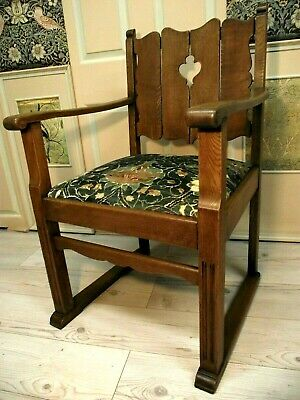 Arts and Crafts Chair Circa 1900 - Newly upholstered in William Morris Velvet