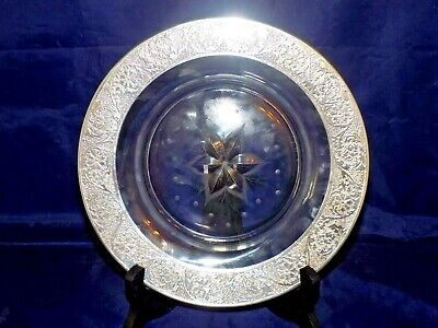 Sterling Overlay w/ Design Etched in Center of Cookie Plate