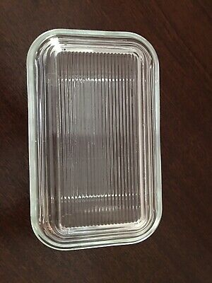 Vintage ARC France Clear Ribbed Glass Covered Butter Refrigerator Dish