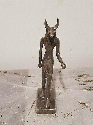 Rare Antique Ancient Egyptian Silver Statu GOD Anubis Dead Underworld1680-1590BC