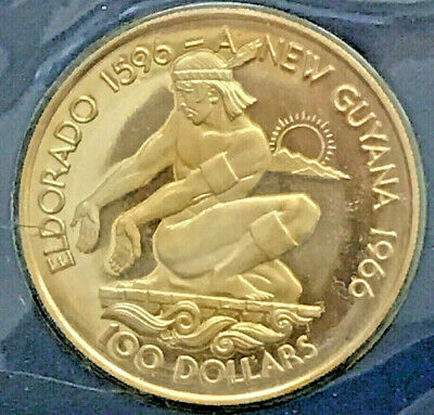 *GUYANA 1976 $100 HUNDRED  PROOF GOLD COIN. with  C.O.A. CERTIFICATE.VERY SCARCE