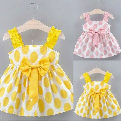 Newborn Toddler Baby Girl Kids Strap Bow Dot Print Summer Dress Princess Dresses