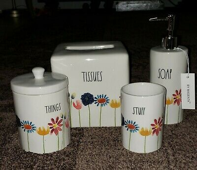 Rae Dunn Artisan Bathroom set Floral TISSUES THINGS SOAP  STUFF Canisters