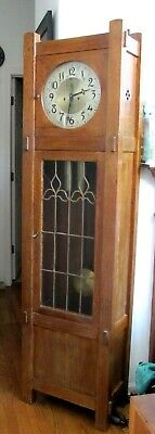 Antique late 19c, Country Mission Style Seth Thomas 2 Weight Grandfather Clock.