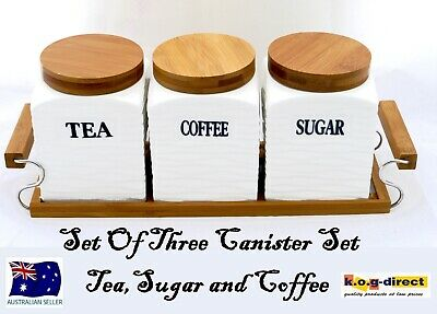Set Of 3 Canister Set Tea Coffee Sugar White Square With Wooden Stand  Hw-182