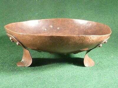 Arts & Crafts Hand Beaten Copper Bowl , Riveted Feet