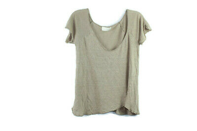 Zara WB Collection Womens Brown Scoop Neck T-Shirt Casual  Basic Tee Size S