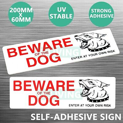 Beware Of The Dog Sign Sticker White Self Adhesive Plaque Warning Decal Au Stock