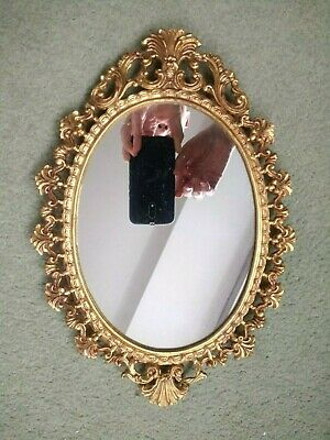 Vintage Ornate Small Oval Hall / Lounge / Bedroom / Porch - Gold Finish - MIRROR