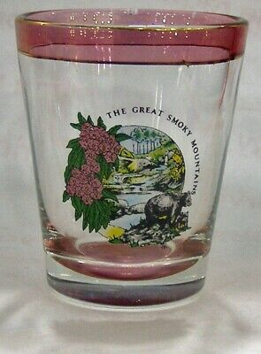 Vintage The Great Smoky Mountains Shot Glass #4844
