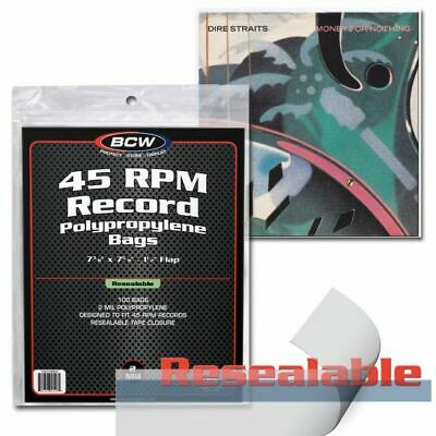 Pack 100 BCW Record Covers 45 rpm Plastic Outer Bags Holders - RESEALABLE
