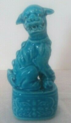Vintage Chinese Turquoise Blue Glazed Temple Guard Dog Porcelain