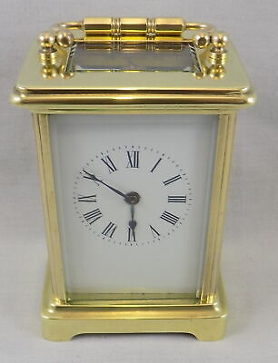 Antique 8 Day French Brass Carriage Clock By Couaillet - Cleaned And Serviced