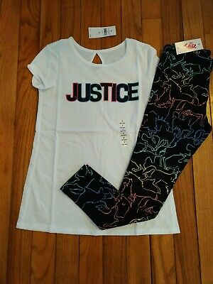 NWT Justice Girls Outfit Logo Top/Unicorn Leggings Size 7 12