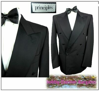 """Principles Double Breasted Black Tuxedo Dinner suit Ch40""""L W34"""" L31"""" Ball Cruise"""