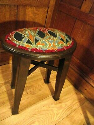 Arts and Crafts Stool Circa 1900 -Antique Oval Stool Manner of Liberty- H 50 cm