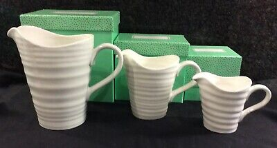 Portmeirion Sophie Conran Set Of 3 Graduated Jugs Pitchers White New Boxed