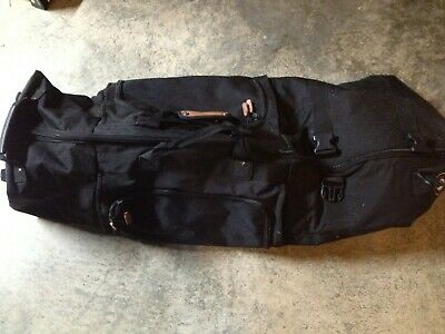 4ft Black GB Zip Up Buckle Rolling Wheeled Duffle Bag Suitcase Luggage