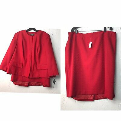 NWT Emily Red Fray Edge Polyester Lined 2Pc Suit Skirt Jacket Plus Size 18W