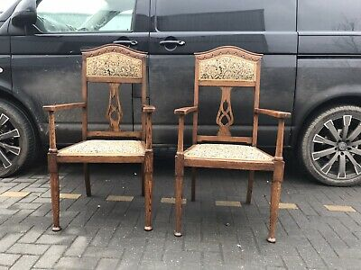 Pair Of Oak Arts & Crafts Open Arm Chairs. For Liberty?