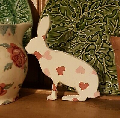 Emma Bridgewater themed Freestanding hare rabbit Easter gift Pink hearts