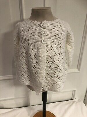 Vintage Hand Knitted White Matinee Jacket Age 3-6 Months