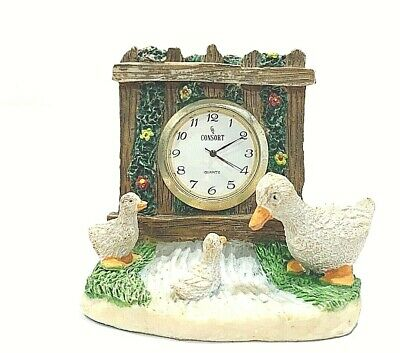 Vintage Collectible Small Resin Duck Family Figural Mantle Quartz Clock/Battery