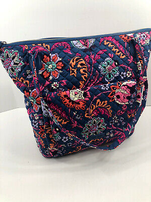 Vera Bradley Carson North South Tote Large Dragon Fruit Blue Travel Bag NWT