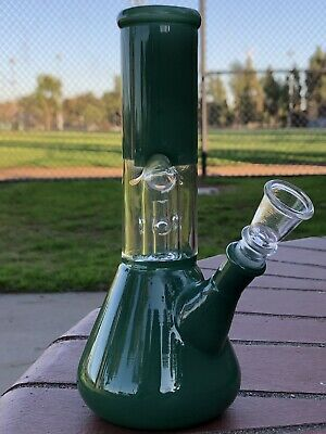 "Collectible 7"" INCH Glossy Green Glass Bong / Hookah Water Pipe Bongs Handmade!"