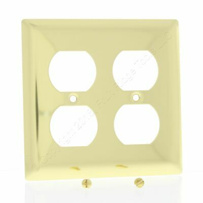 P&S 2-Gang Solid Polished Brass Receptacle Wallplate Outlet Cover SB82-PBCC
