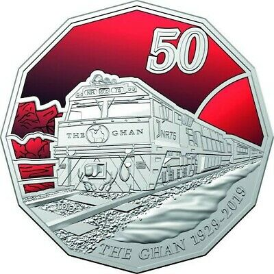 2019 RAM 50c Coloured Uncirculated Coin - 90th Anniversary of The Ghan 50 Cent