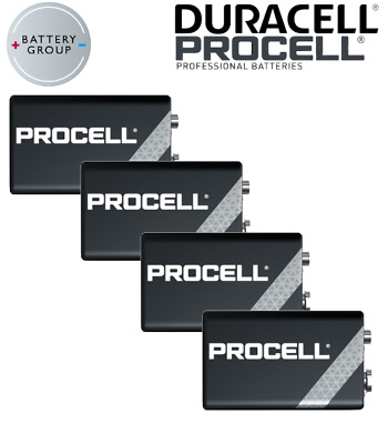4 x DURACELL Procell 9V Block PP3 Alkaline Batteries MN1604 INDUSTRIAL Use
