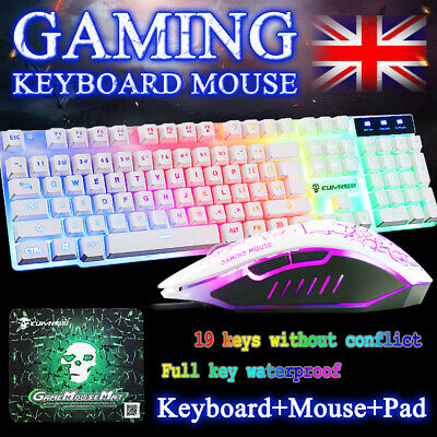 Gaming Keyboard Mouse Set Rainbow LED USB Adapter For PS4 Xbox One & 360 Gaming