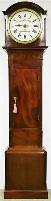 Antique 19thC English Mahogany 8 Day Verge Alarm Grandfather Longcase Clock