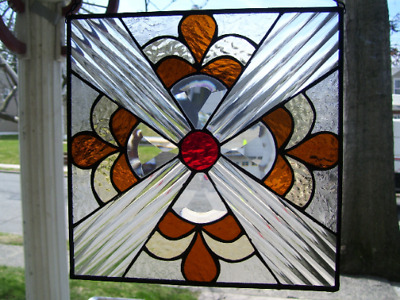 Stained Glass Kev Art Deco Sun-catcher (Real Glass)