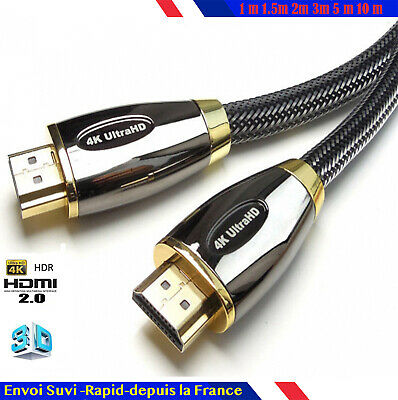 Câble HDMI full ultra HD v2.0 4K 2160p 3D coton nylon 1/1,5/2/3/5/10/15/20/30 m